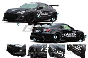 Full GReddy X Rocket Bunny 86 Wide-Body Aero Kit, Ver.1 w/ GT Wing Scion FR-S and Subaru BRZ